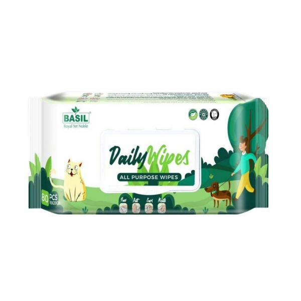 Poochles Basil Daily Care Pet Wet Wipes - 80 Pieces   Odor Control   Aloe Vera and Vitamin E  