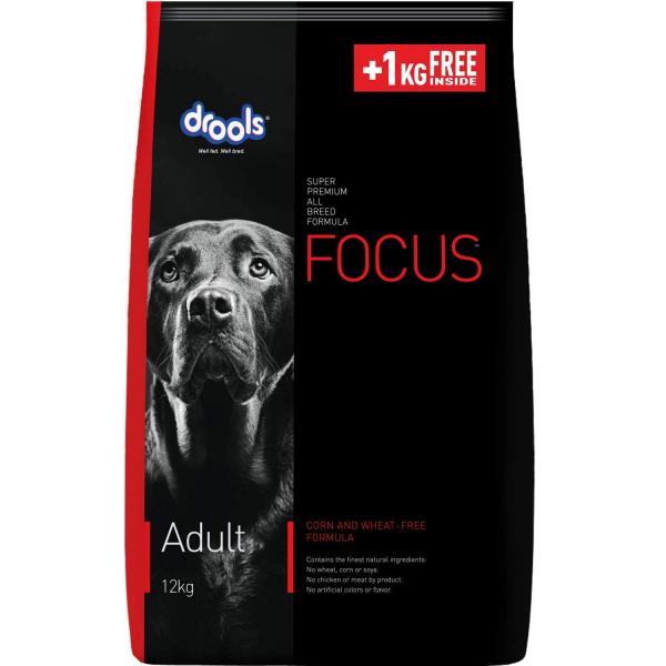 Drools Focus Adult Super Premium Dog Food, 12 kg (+1 kg Free Inside)