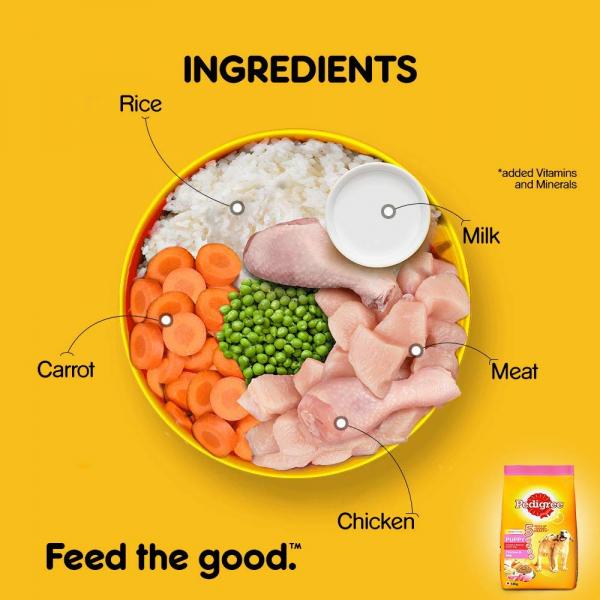 Pedigree Puppy Dry Dog Food, Chicken & Milk, 6kg Pack