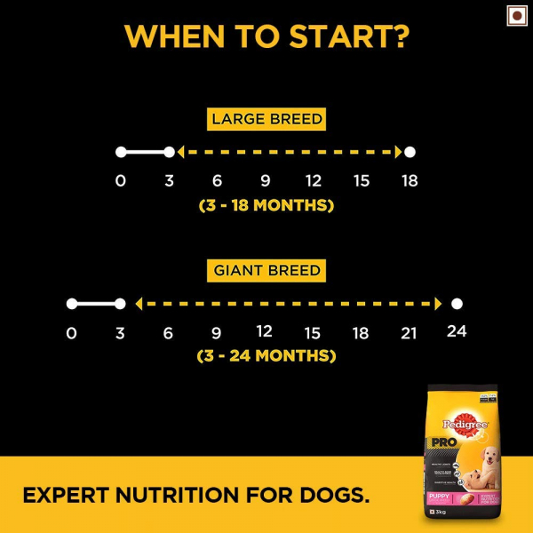 Pedigree PRO Expert Nutrition Large Breed Puppy (3-18 Months), Dry Dog Food, 3kg Pack