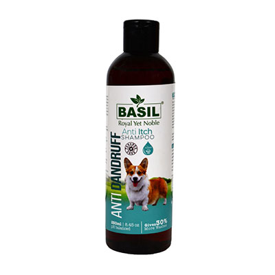 Basil Natural Dog Shampoo for Anti Dandruff Anti-Itch Shampoo 250 ml