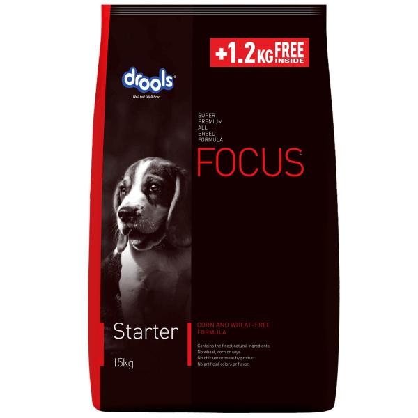 Drools Focus Starter Super Premium Dog Food 15KG +1.2 KG